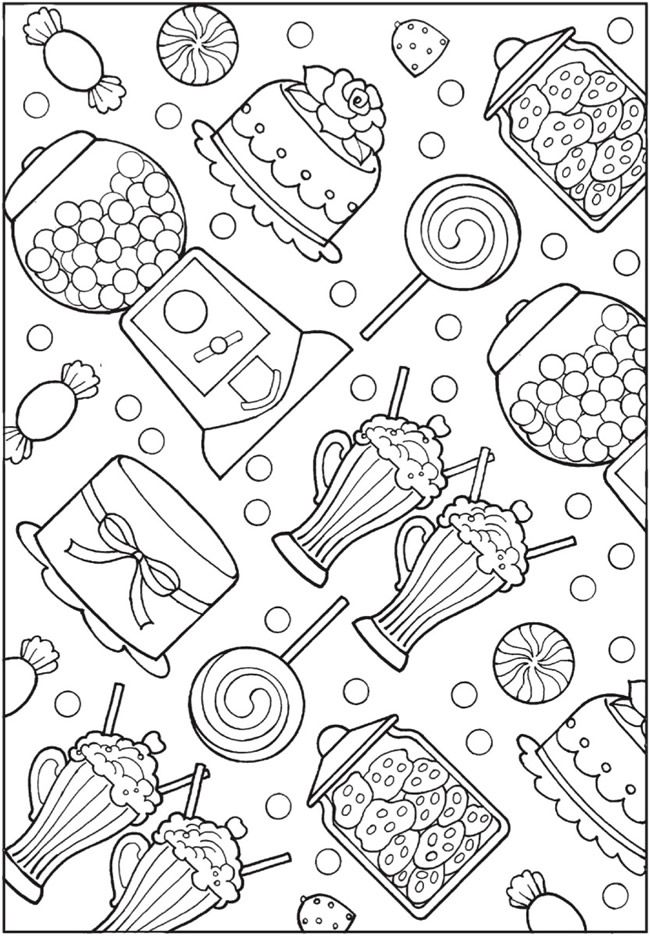 Sweets coloring page | Adult coloring pages, Candy ...