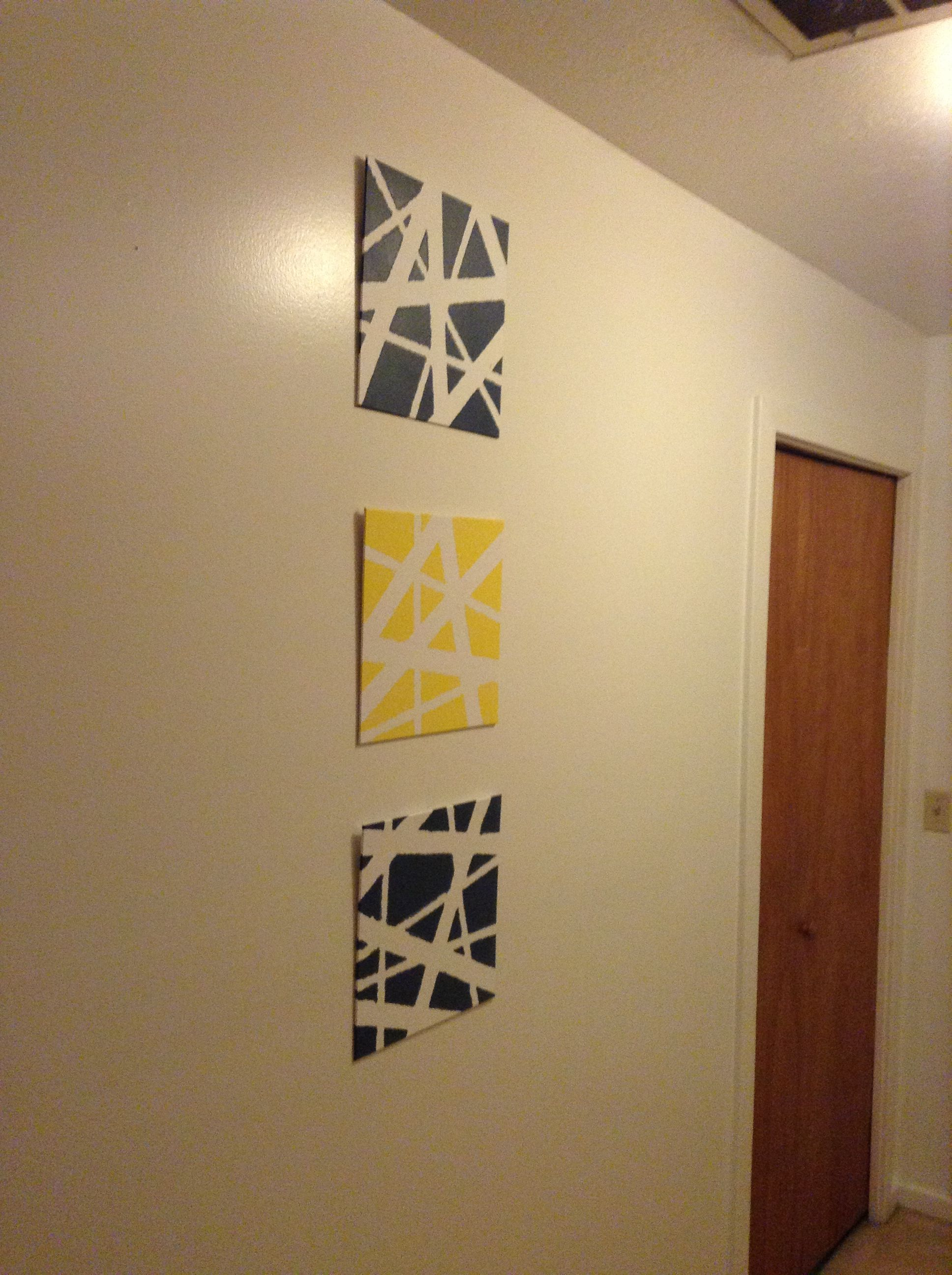 Canvas masking tape wall art - I used thin canvas boards (cheaper ...