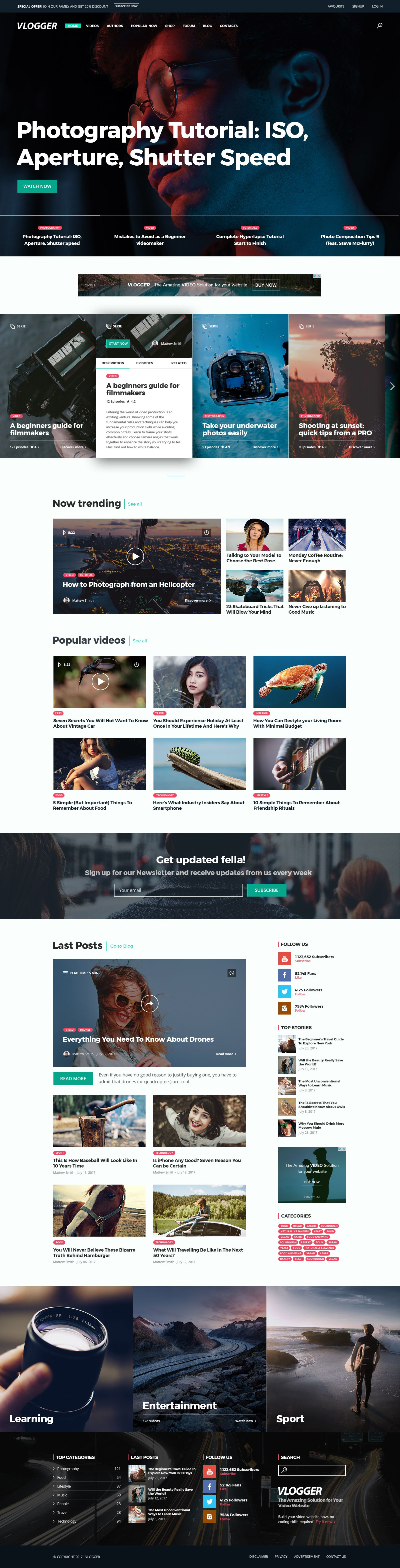 Vlogger - Video Website Template #youtube video • Download ➝ https://themeforest.net/item/vlogger-video-website-template/20144476?ref=pxcr