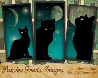 Black Cat on Teal Moonlit Skies Domino Tile Images Halloween Digital Collage Sheet--Instant Download