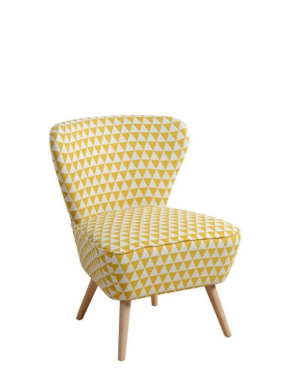 Retro Geometric Skandi Accent Chair Bedroom Living Room Armchair Yellow White Pattern New Mi Arm Chairs Living Room Accent Chair Bedroom Occasional Chairs #pattern #chairs #for #living #room