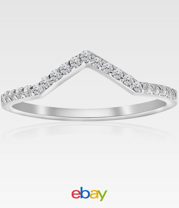 Details about 1/4ct Diamond Curved V Shape Wedding Ring