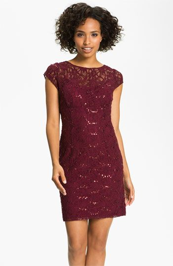 Hailey by Adrianna Papell Embellished Lace Sheath Dress available at #Nordstrom