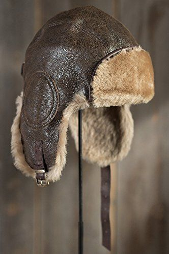 876bb689d1 Vintage Shearling Sheepskin Aviator Hat with Leather Trim
