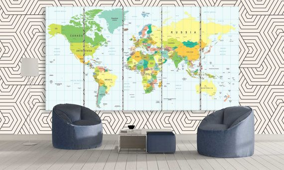 Large world map office political wall art 3 by canvasfactoryco large world map office political wall art 3 by canvasfactoryco gumiabroncs
