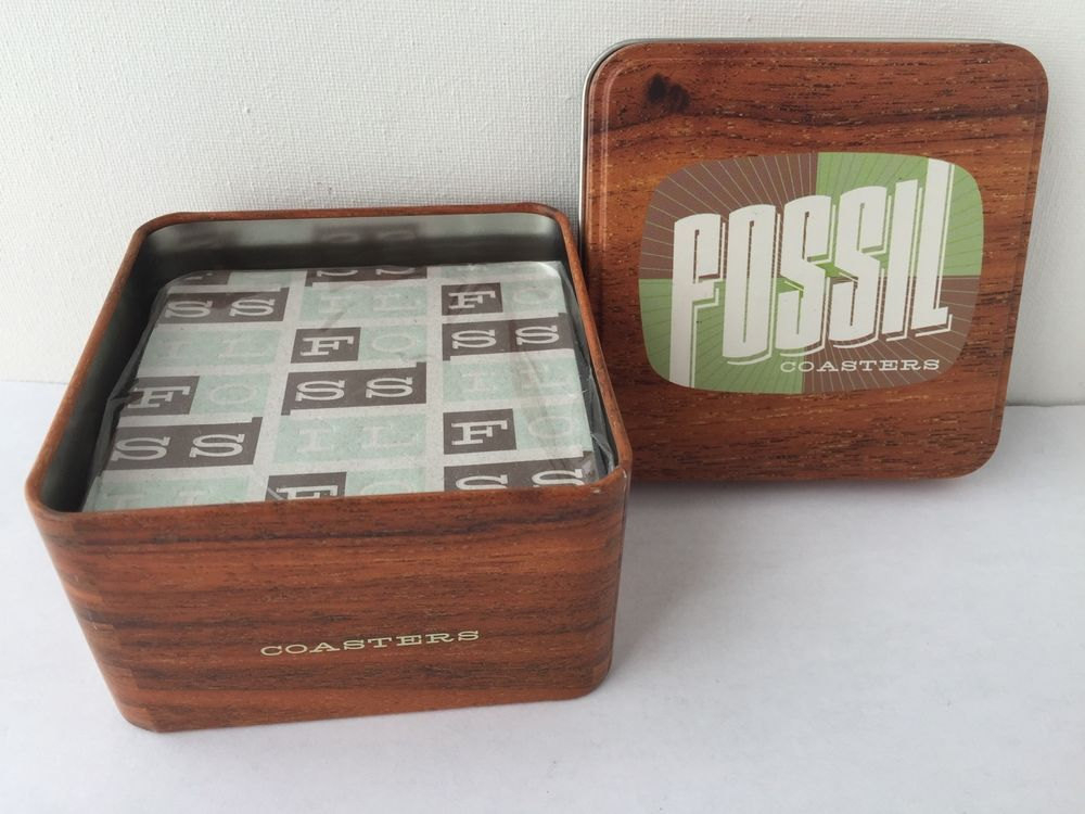 Fossil Fashion Brand Coasters Sealed 15 In Tin Box New Fossil Cardboard Coasters Branded Coasters Fashion Brand
