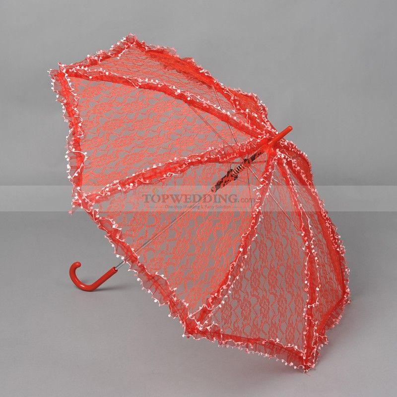 Red Lace Wedding Umbrella with White Tiny Flowers