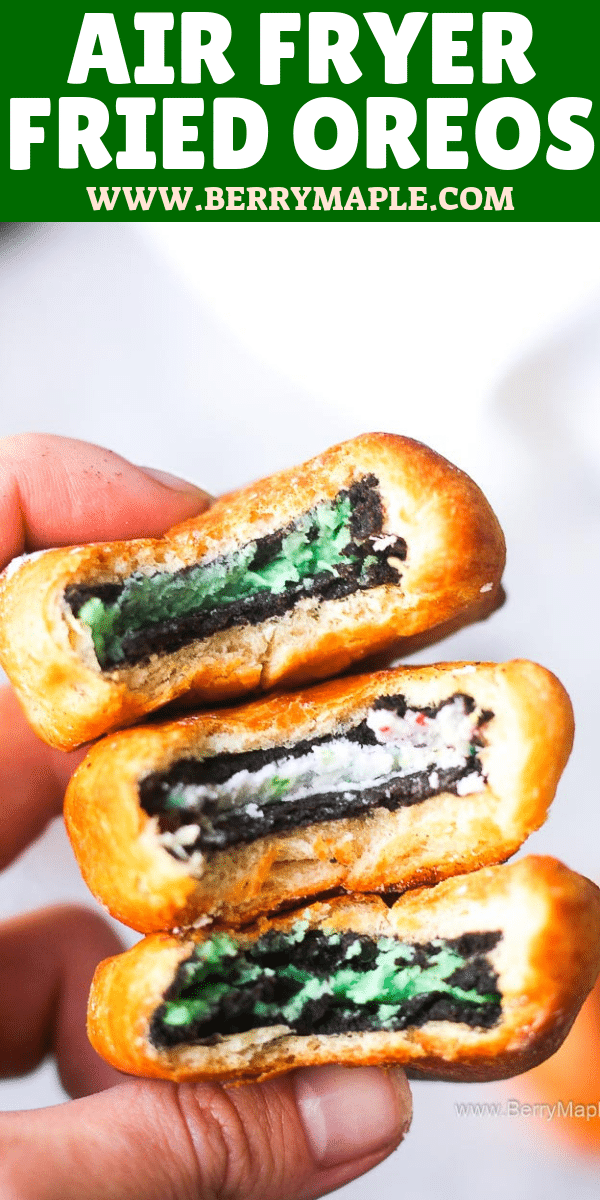 Air fryer fried OREOS with crescent roll, taste like deep fried! Easy dessert recipe that is great for even beginners. Fried oreo cookies are the best for parties and for you kids, simple and quick! Not really healthy but so sweet and crunchy.