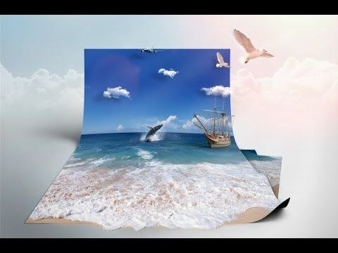 Photoshop Manipulation | Sea in paper 3D