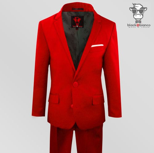 b2cde55a62d7 Black n Bianco Boys Red Slim Suit. First Class Edition. Comfort