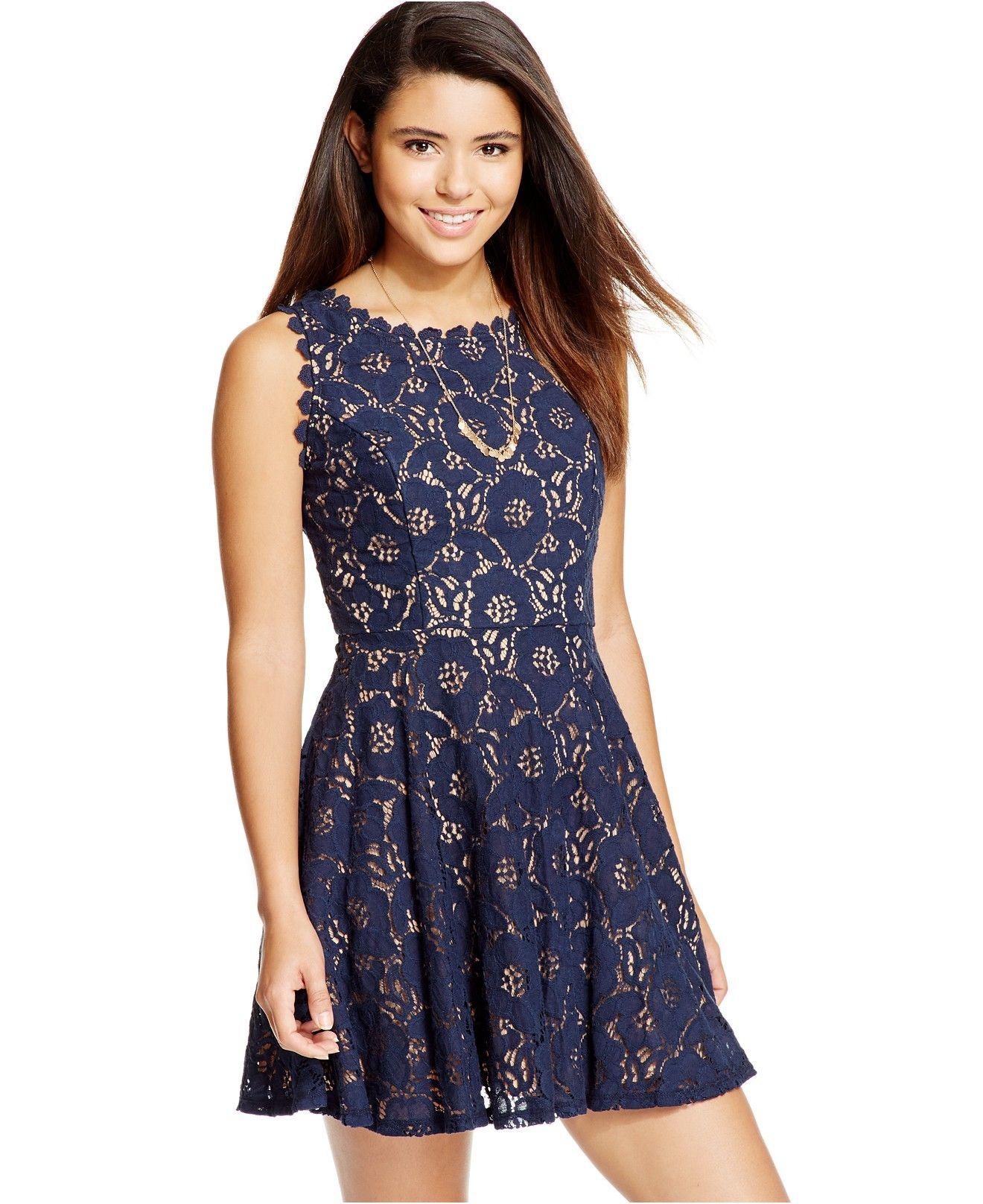 Juniors Lace Fit Amp Flare Dress Dresses Junior Dresses