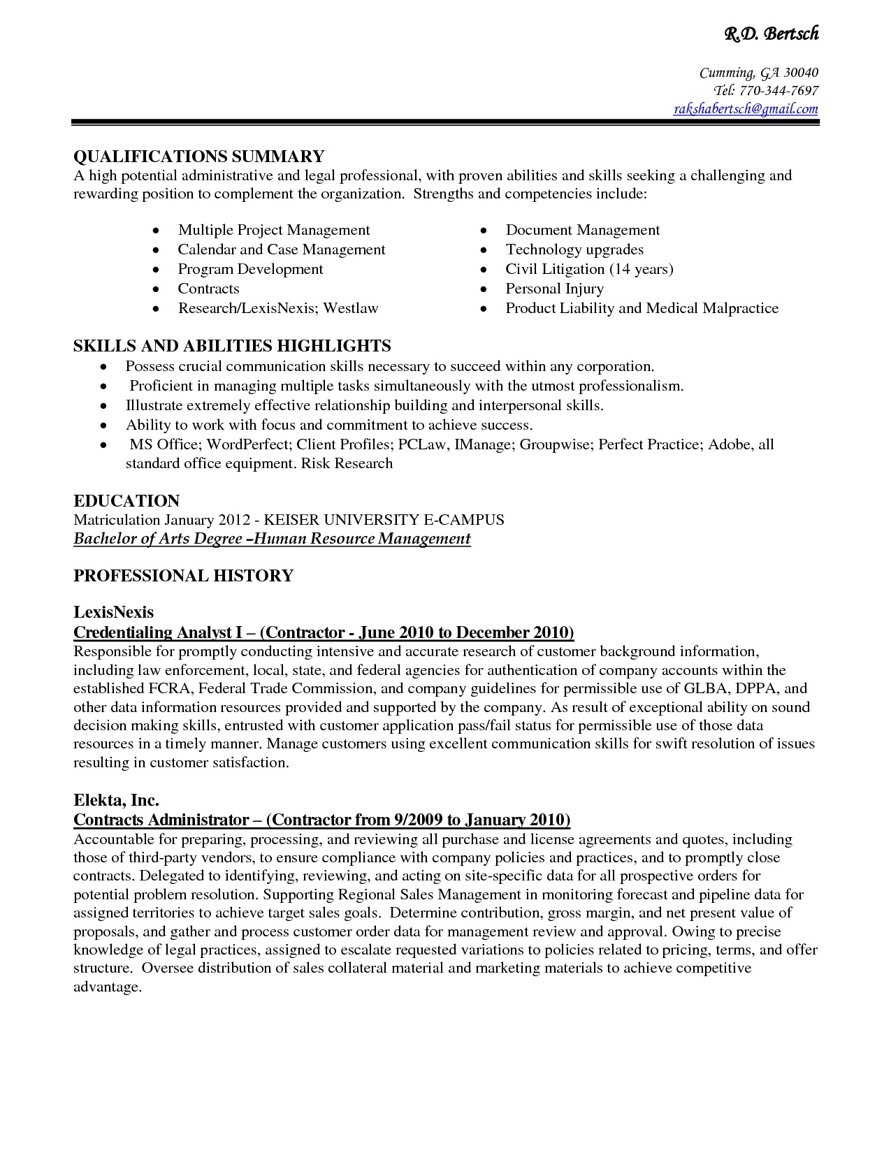 Resume For Office Assistant Examples Example Qualifications Summary