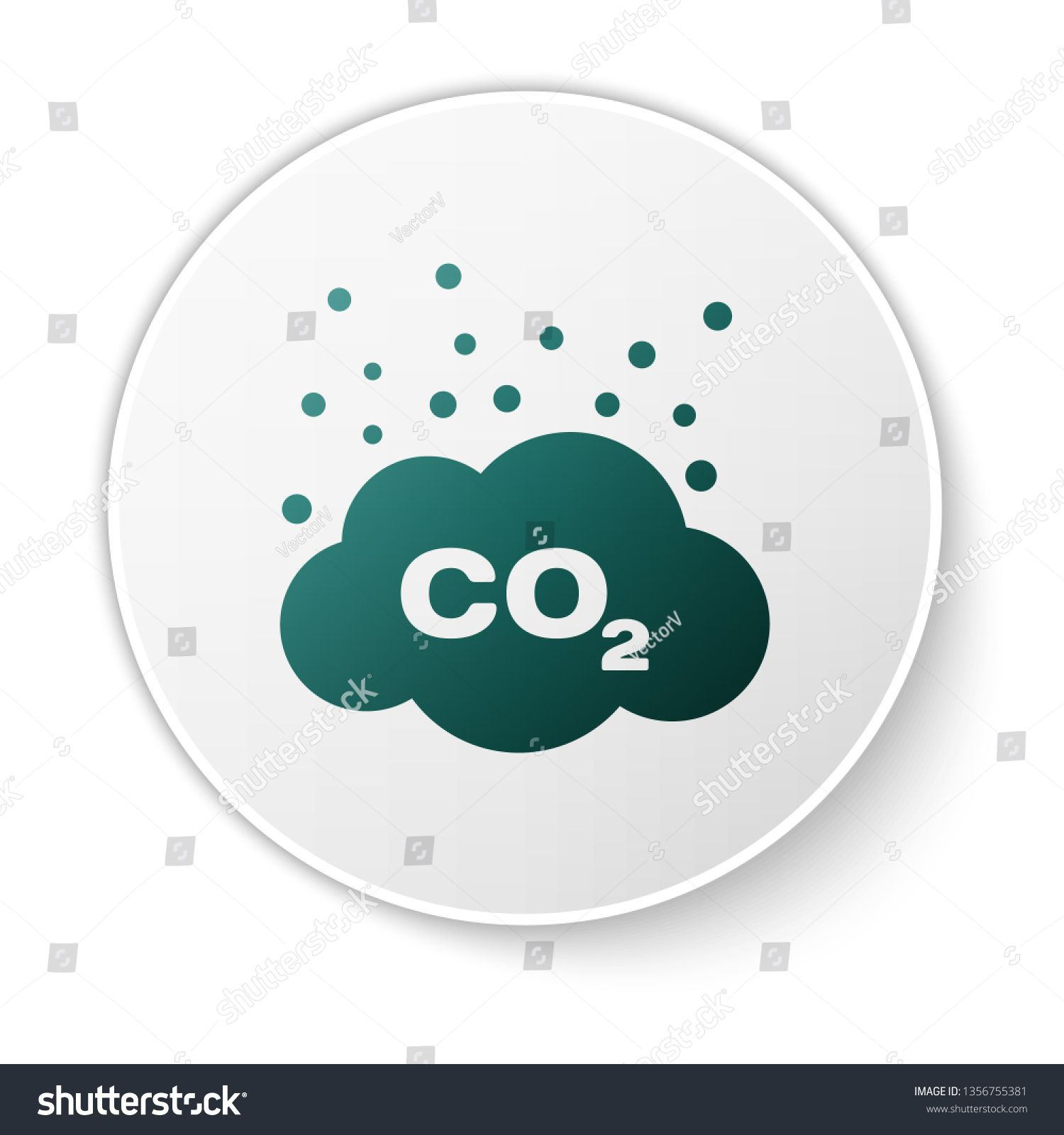 Green CO2 emissions in cloud icon isolated on white