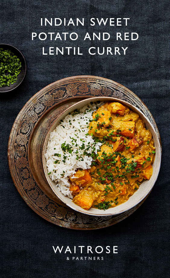 Our Indian sweet potato and red lentil curry makes the ultimate vegetarian dinner. Tip: for a creamier curry, add a 400ml can of coconut milk and use 600ml of stock rather than 1 litre. Finish with chives and natural yogurt to serve.  Click on the image for the full Waitrose & Partners recipe. #indianfood