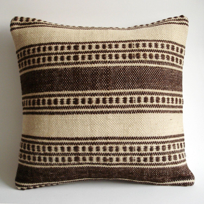 Sukan Organic Modern Bohemian Throw Pillow Handwoven Wool