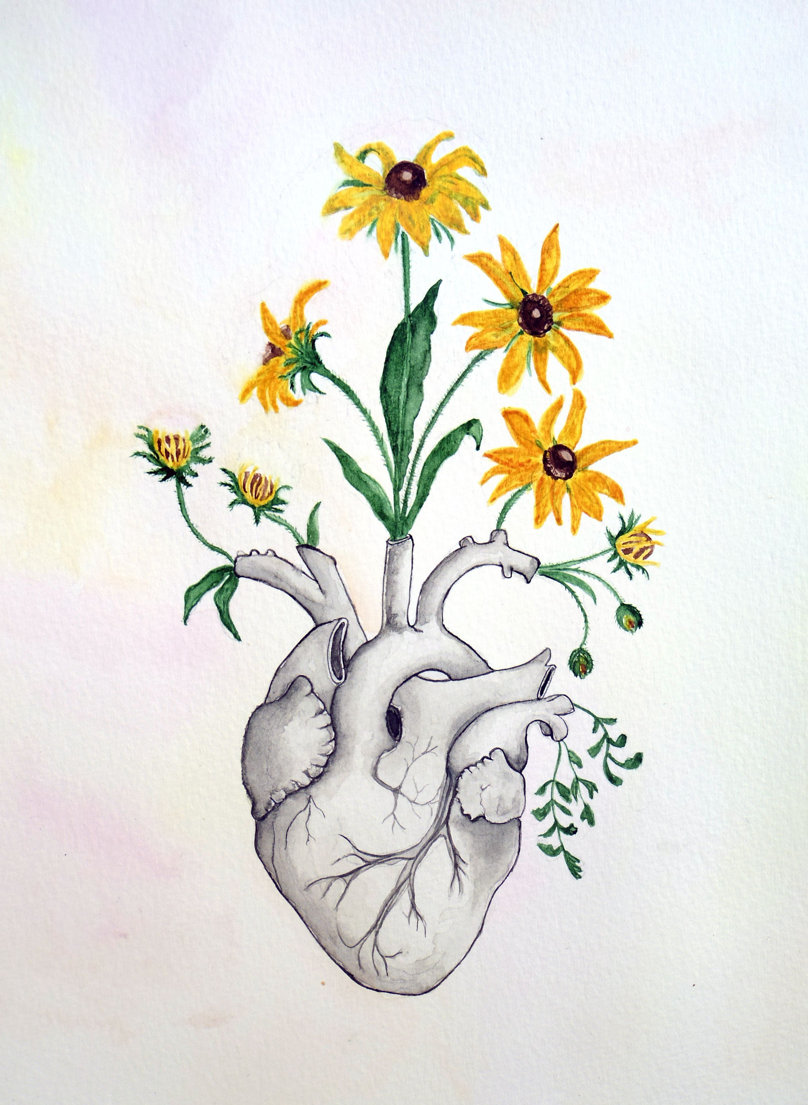 Floral Heart Anatomy Painting Unique Love Gift Watercolor Human