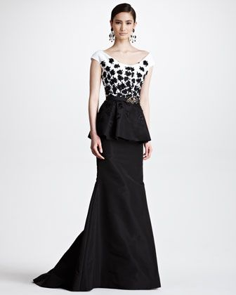Floral Embroidered Peplum Gown, Black/White by Oscar de la Renta at ...