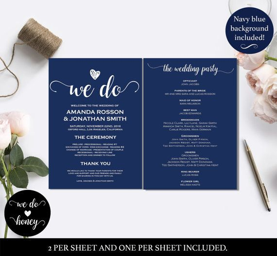 Editable Wedding Program Navy Blue Templates Menu Able Wdh0050