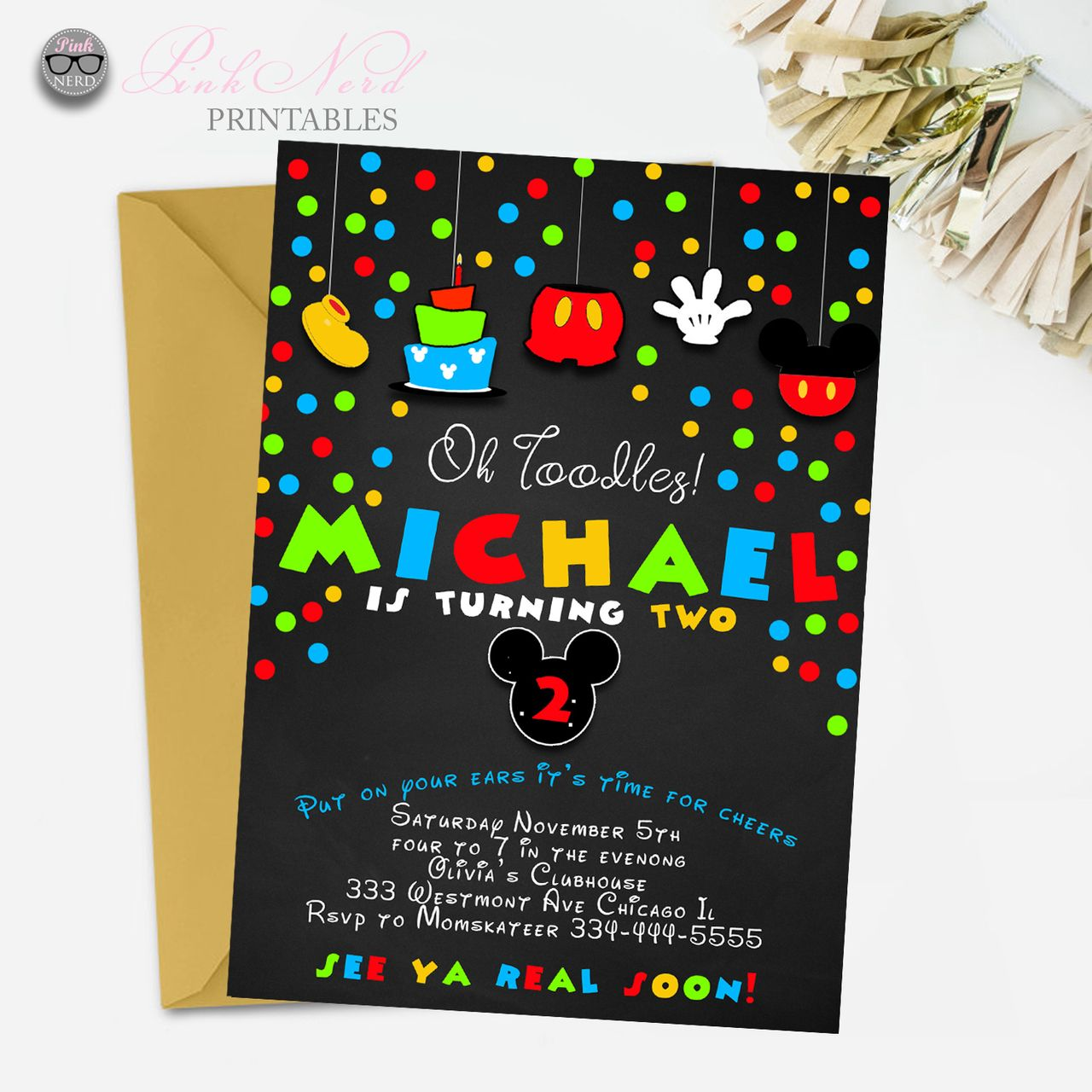 Mickey mouse birthday invitation chalkboard printable   Mickey mouse ...