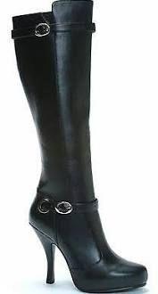 "High Heel Black Pu 4"" Knee High Boots Ellie Shoes 423-anarchy/blkp"
