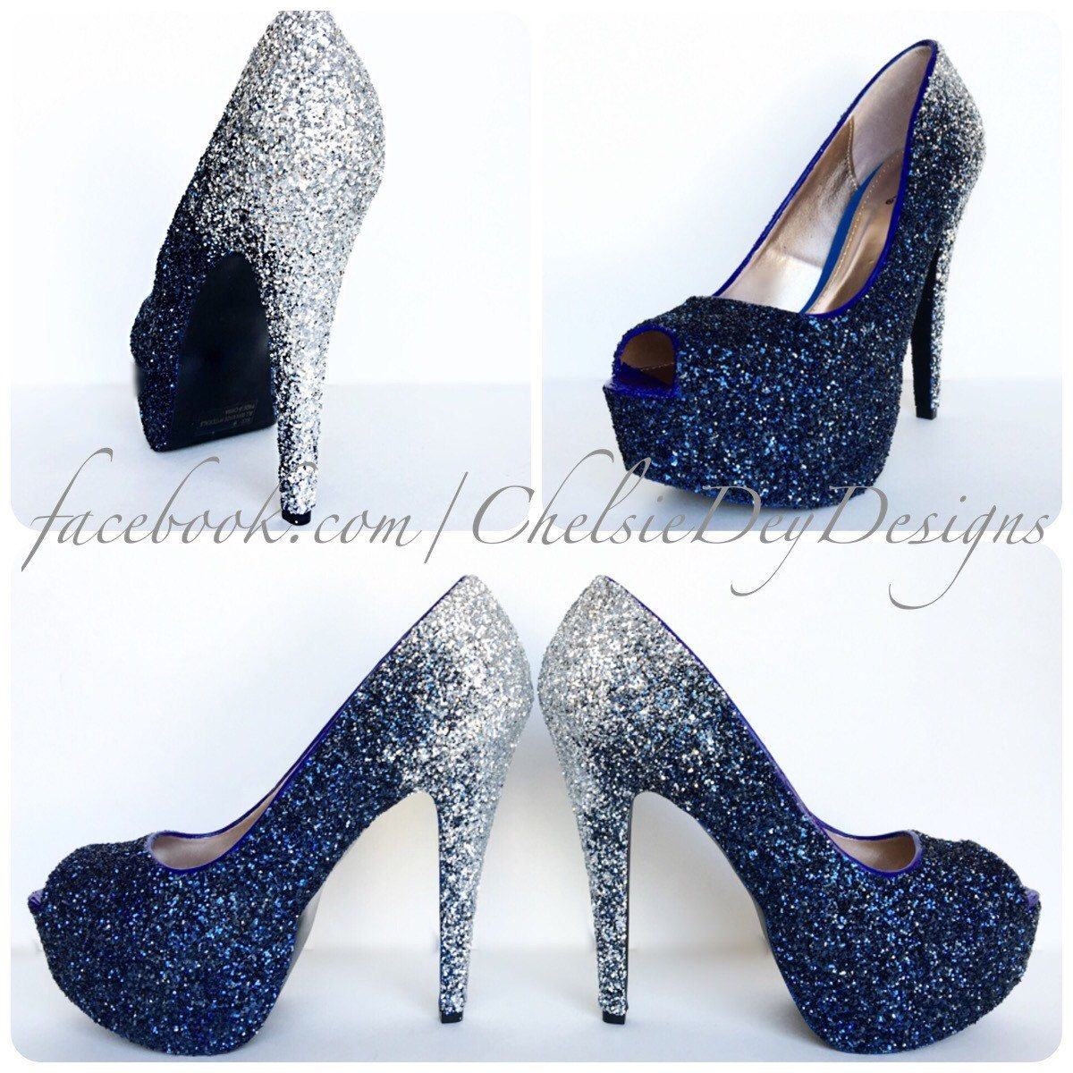glitter high heels silver navy blue pumps ombre fade