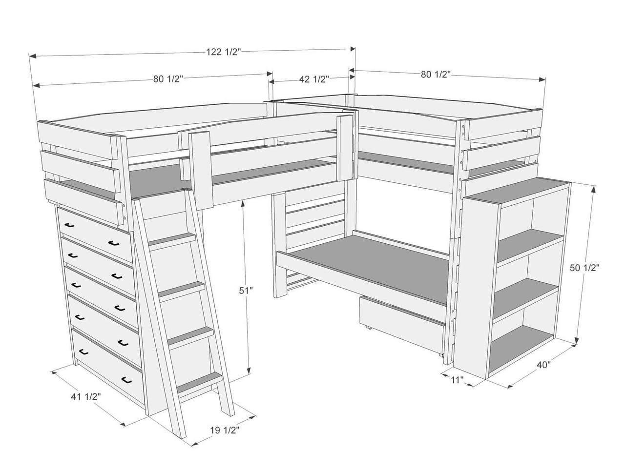 Dimensions Of Triple Bunk Bed L87 Bunk Bed Plans Bunk Beds