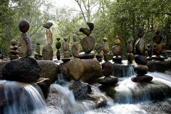 Mike Grab created this unusual series of structures in the waters of Boulder Creek using nothing but balance and gravity, patience, and not a single drop of glue.