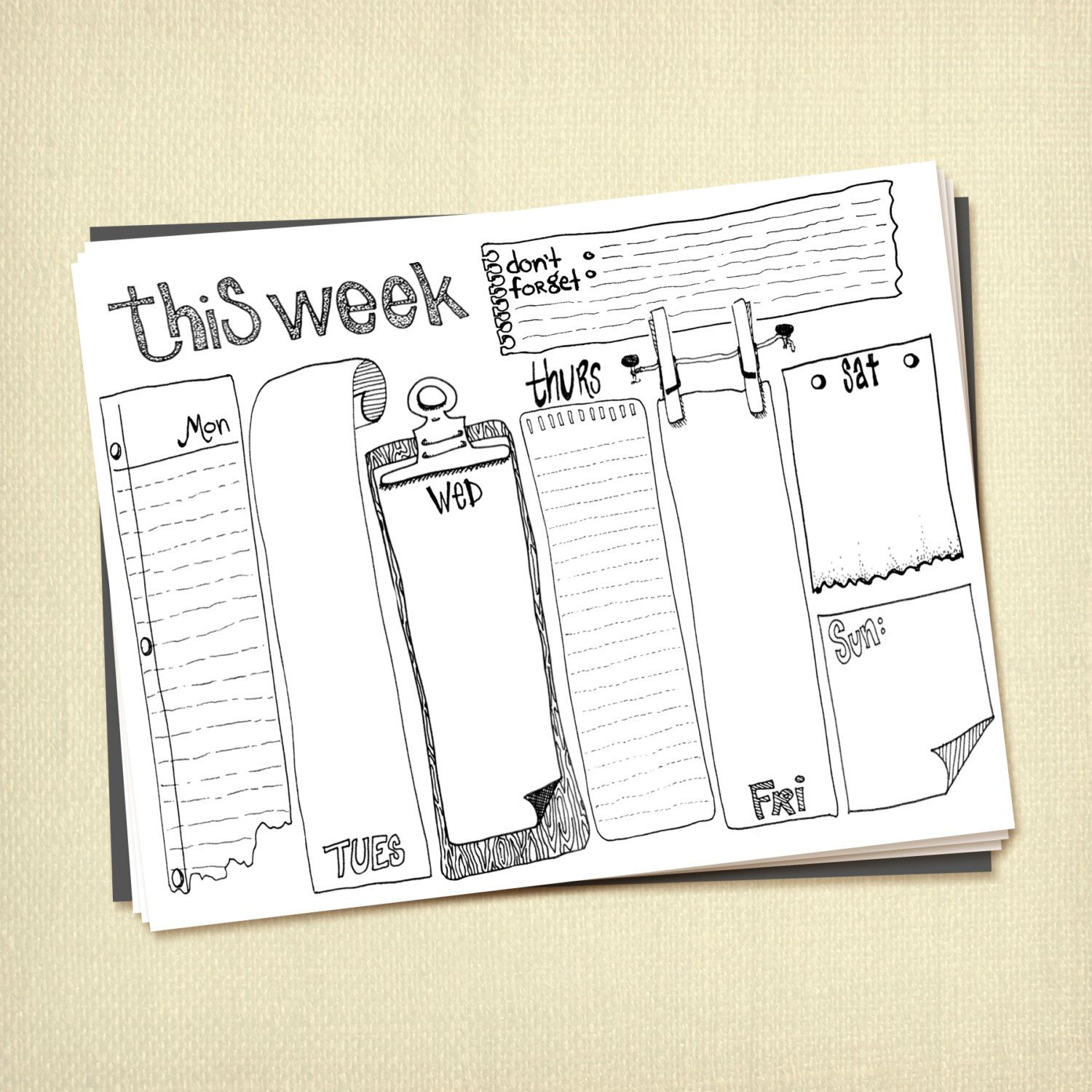 Prinable Weekly To Do List Planner Instant Download