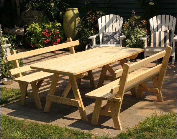 Treated Pine Picnic Table W 2 Backed