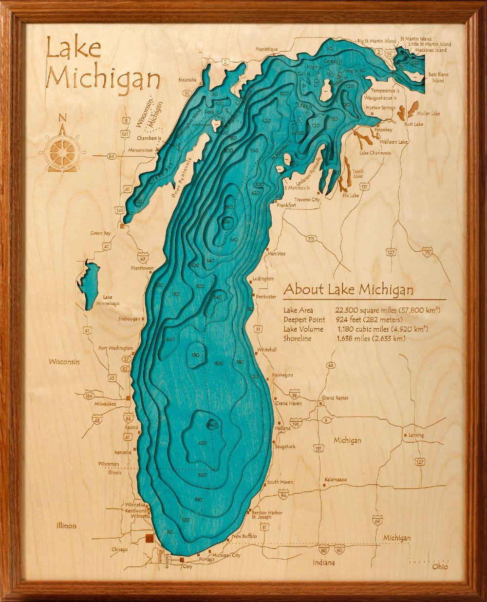Lake Michigan Wall Art Lake Map Lake Art Lake Michigan