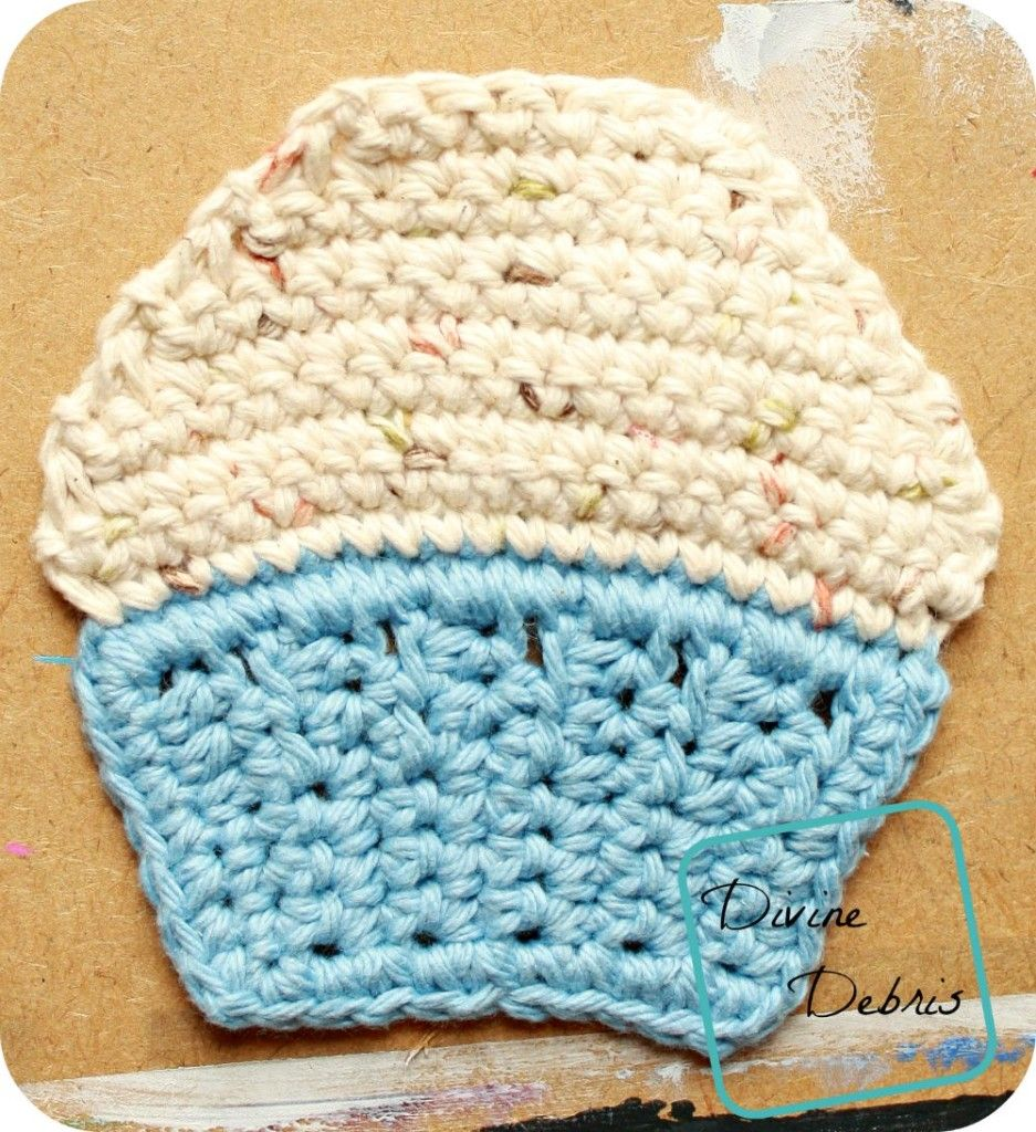 Cupcake Applique/ Coaster Pattern by DivineDebris.com   Crochet ...