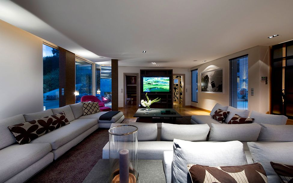 Tv room Glass Box in the Sky French Rivieras CView Modern Villa