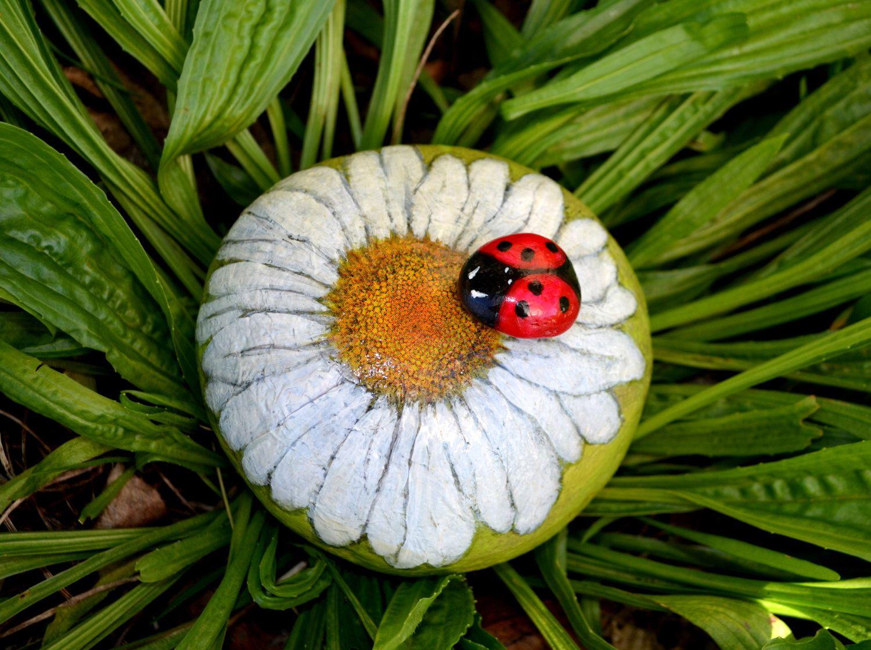 Flower Stone, Garden Rock, Daisy, Flower Art, ,Painted Lady Bug, 3D ...