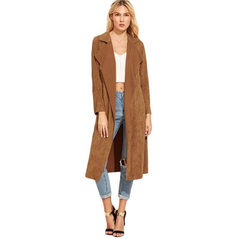 e5d4cfa2f Sheinside Brown Suede Self Tie Duster Trench Coat Long Sleeve Wrap ...