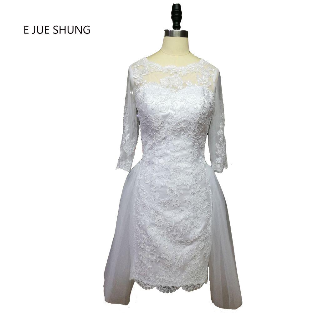 E jue shung white lace appliques backless short wedding dresses half