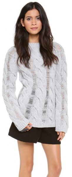 Shredded Cable Sweater - Lyst