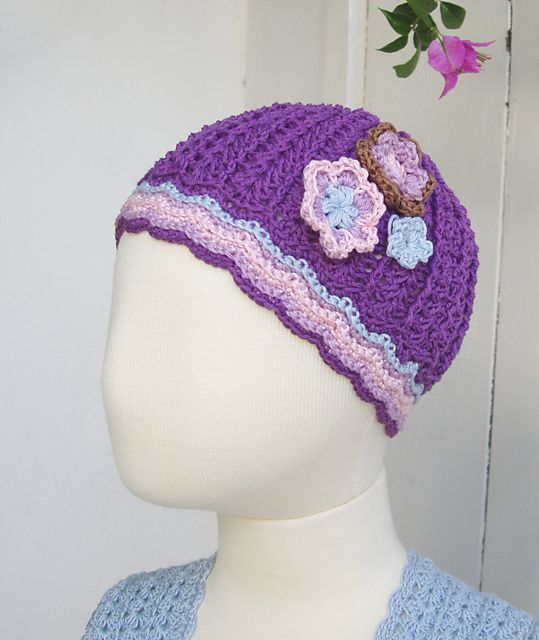 Purple Crochet Hat With Flowers Pattern By Sophie And Me Ingunn