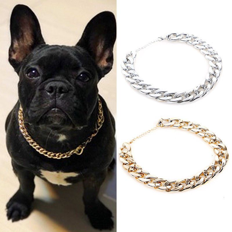 Details About Pet Choke Chain Gold Silver Collar Necklace Small