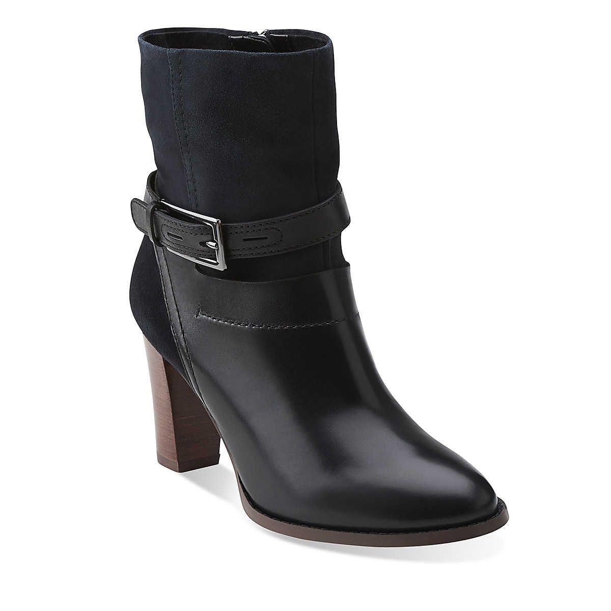 Womens Boots Clarks Kacia Garnet Black Leather/Navy Suede