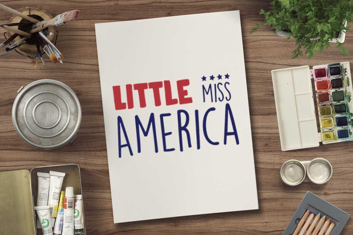 Little miss America svg file for 4th july tshirt By