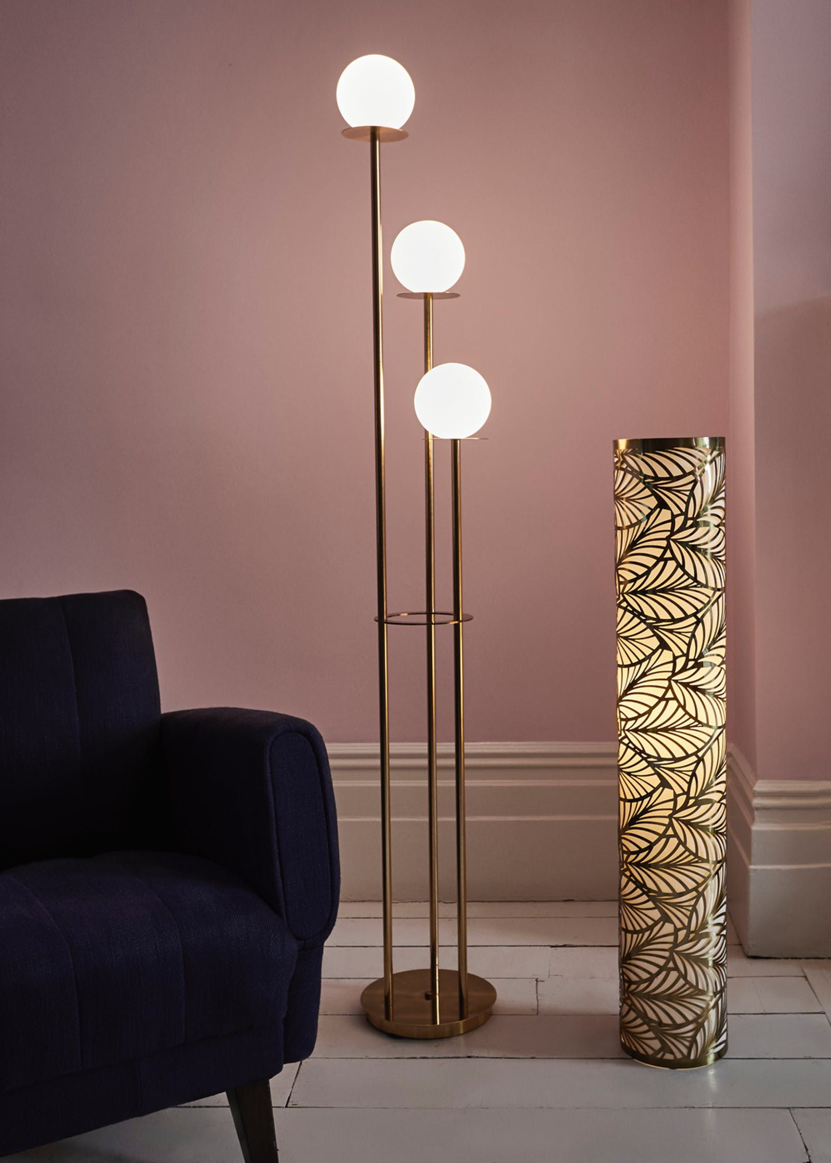 Stella Opal Glass Ball Floor Lamp (H162cm x W27cm) Gold