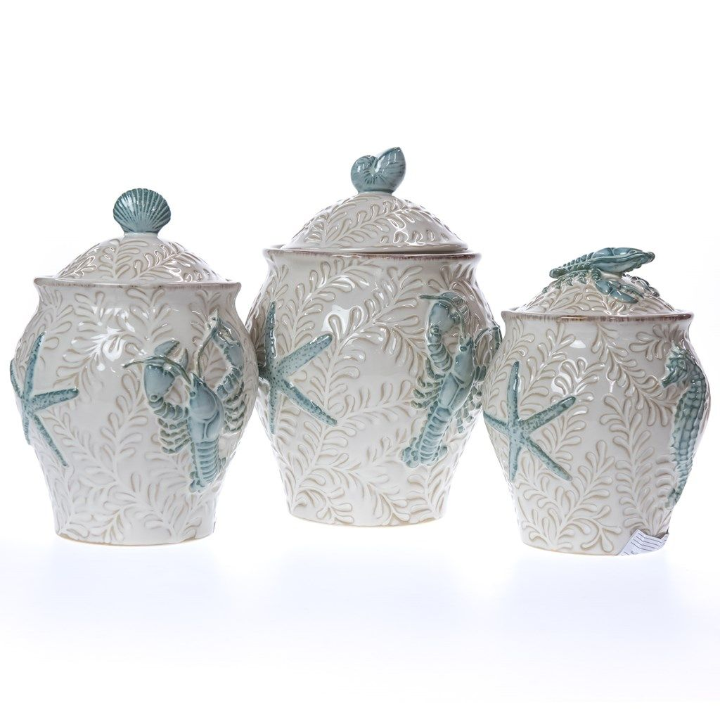 themed kitchen canisters 3 piece stoneware canister set canister sets coastal