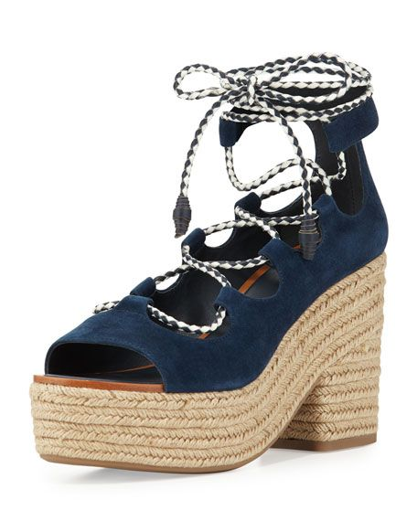 Tory Burch Positano Suede Lace-Up Sandal, Bright Navy · PositanoSuede  SandalsNeiman MarcusTory BurchNavy WomenTop DesignersCatShipsShoe Boot