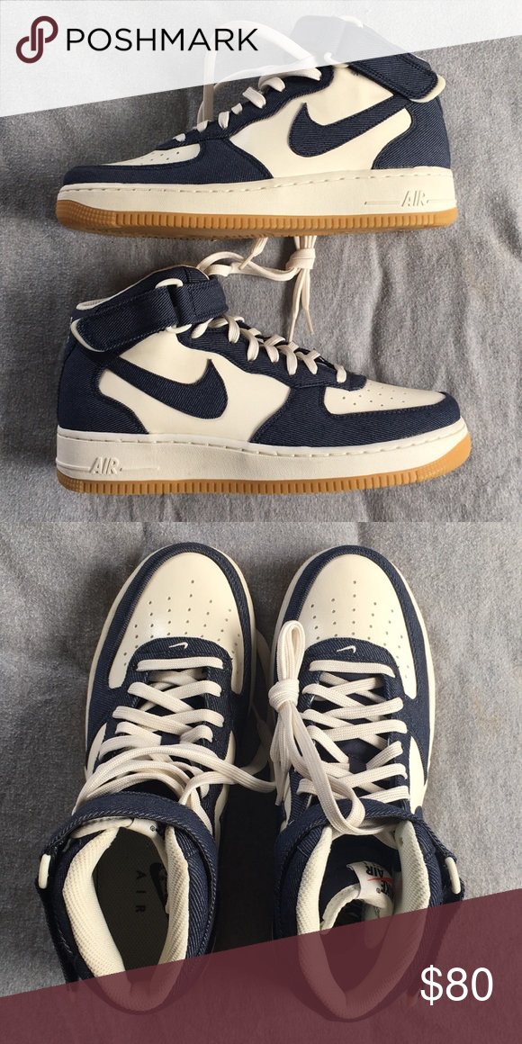 buy online 88edc d9ae8 Nike AIR Force 1 Mid  07  Denim Gum  Brand new, size 8 men s, no box.  Listing is also on goat if you want to find it on there. Nike Shoes Sneakers