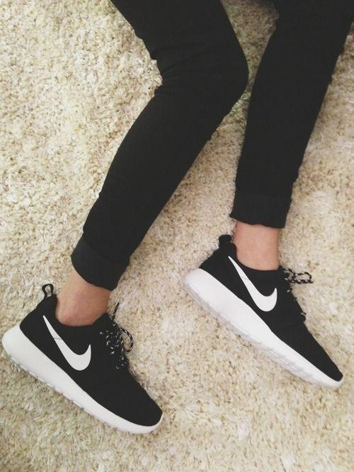 2522dfb8dd28 Black Nikes with white ticks