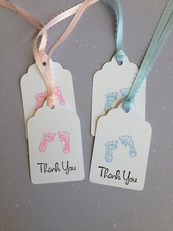 Baby Footprints, Baby Shower Tags, Set of 12, Baby Shower ...