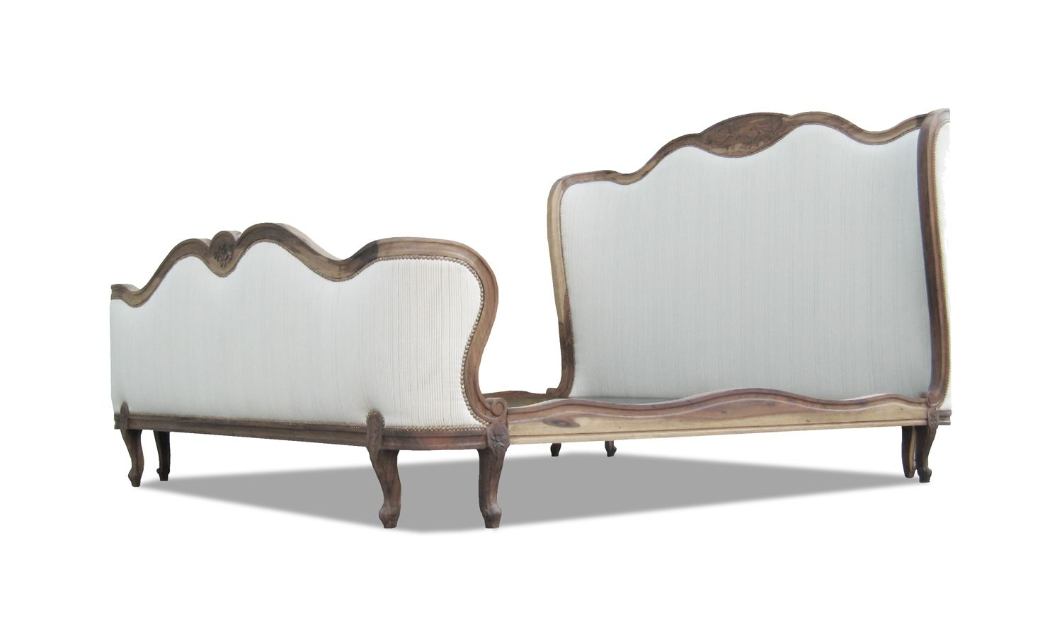 """Louis VX Bed. This custom Louis XV style bed can feature your own custom carving. Shown in a California King, with natural Guayubira frame and Ralph Lauren fabric (COM). Add 8"""" to the width and depth of your mattress for your dimensions."""