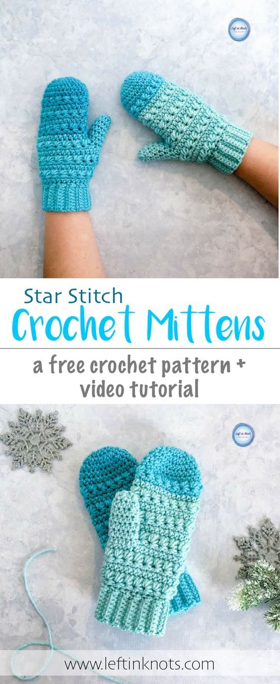 Snow Drops Mittens Free Crochet Pattern
