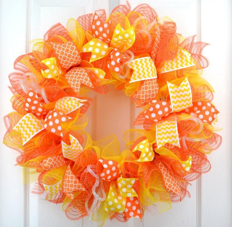 Photo of Orange and Yellow Summer Mesh Front Door Wreath – Bright Spring Door Decor