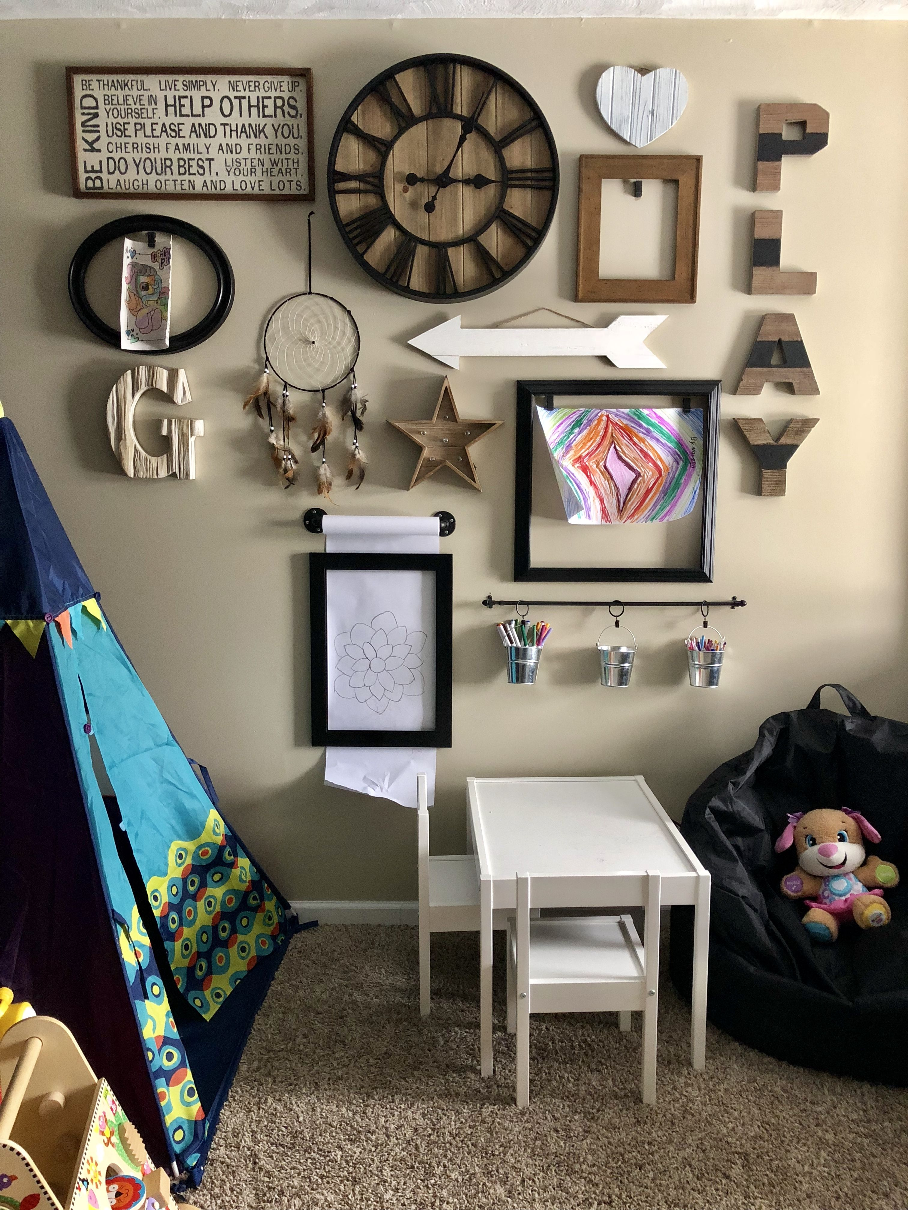 Playroom gallery wall- Using neutrals in the playroom leaves